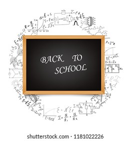 School board on the background of mathematical equations and formulas. Hand-drawn diagrams and graphs isolated on white background. Science. Doodle. Physics. Vector Illustration. Back to school.