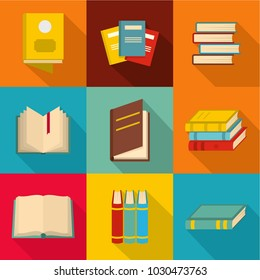 School book icons set. flat set of 9 school book vector icons for web any design