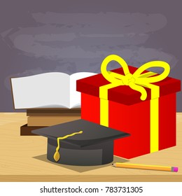 School book, pencil, graduation cap with gift box and empty blackboard on the background, education concept. Vector cartoon style illustration.