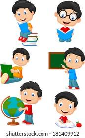 School boy cartoon character collection set