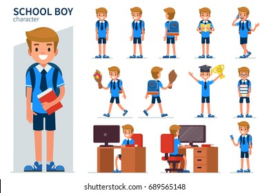 School boy character in different poses. Flat style vector illustration isolated on white background.