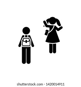School, boy, girl, bye,  icon. Element of children pictogram. Premium quality graphic design icon. Signs and symbols collection icon