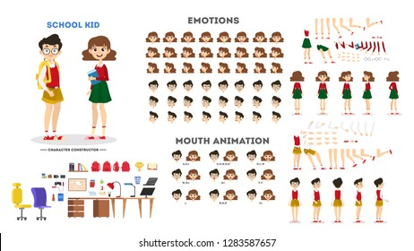 School boy and girl character set for the animation with various views, hairstyle, emotion, pose and gesture. Child and different facial expression. Isolated vector illustration in cartoon style