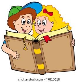 School boy and girl reading book - vector illustration.