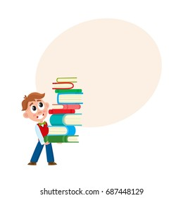 School boy holding, carrying huge stack, pile of book, cartoon vector illustration isolated on white background with speech bubble