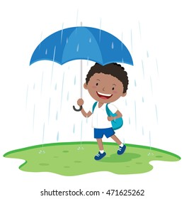 School boy holding umbrella in the rain. Vector illustration of a little boy with umbrella in the rainy day.