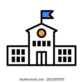 School build icon color vector illustration