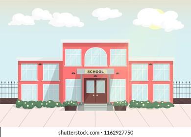 School building back to school background flat vector illustration