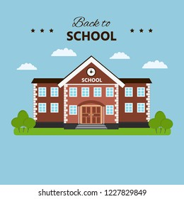 School building. Back to school template. Flat style vector illustration isolated.