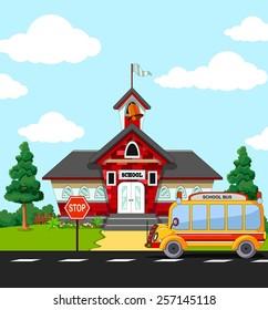School Building with bus stop