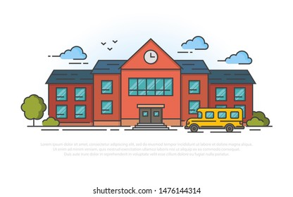 School building and bus. Vector illustration in filled outline style.