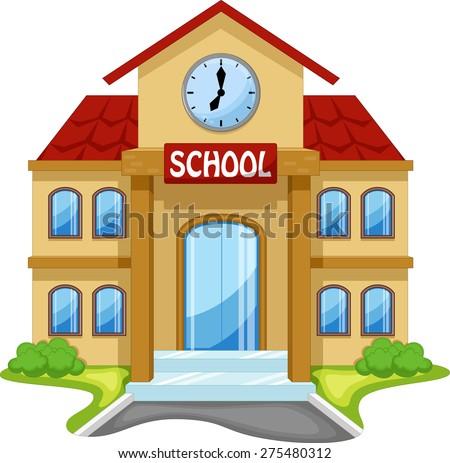 school building cartoon のベクター画像素材 ロイヤリティフリー