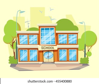 School building . Cartoon and flat style
