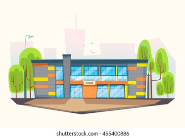 School building .Cartoon and flat style
