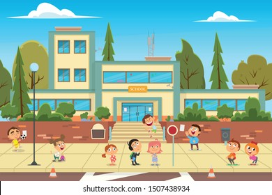 school building and children in the front yard of the school. vector illustration. Modern school, college building on city street background.