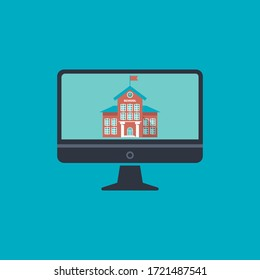 School building with clock and flag flat vector icon for mobile app and web site. concept online school. school building on screen monitor PC