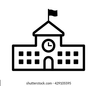 School building with clock and flag line art vector icon for apps and websites