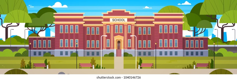 School Building And Empty Front Yard With Green Grass And Trees Landscape Horizontal Banner Flat Vector Illustration