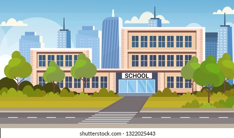 school building exterior road crosswalk back to school concept cityscape background flat horizontal