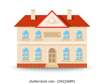 School building in flat cartoon style isolated on white background. Vector illustration.