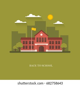 School building in flat style on green background. Back to school banner design concept. College, university, academy vector illustration