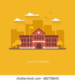 School building in flat style on bright orange background. Back to school banner design concept. College, university, academy vector illustration