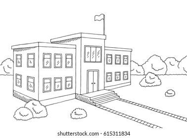 School building graphic black white sketch illustration vector
