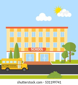 The school building, school building icon, bus, children, lessons. Flat design, vector.