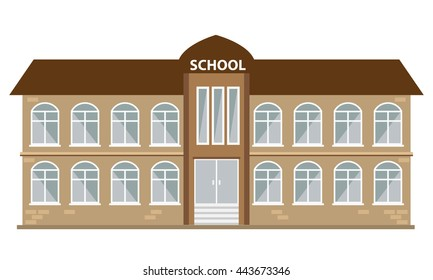 School building icon with flat color style. Illustrated vector with isolated background