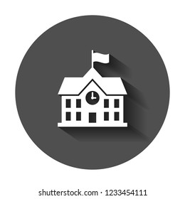 School building icon in flat style. College education vector illustration with long shadow. Bank, government business concept.