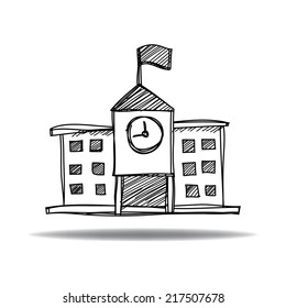 School building icon with ink hand drawn