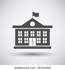 School building icon on gray background with round shadow. Vector illustration.