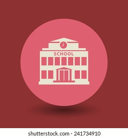 School building icon or sign, vector illustration