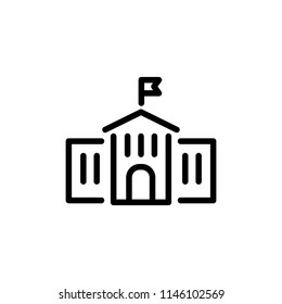 School building icon simple flat style outline illustration. Goverment building.