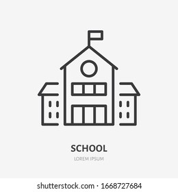 School building line icon, vector pictogram of college or university. Education illustration, sign for schoolhouse exterior.