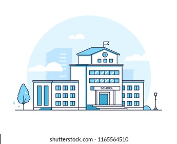 School building - modern thin line design style vector illustration on white background. Blue colored high quality composition with educational institution, lantern, tree. Urban architecture