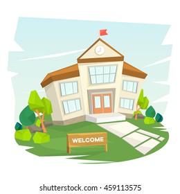 School building on landscape. Welcome to school. Vector illustration