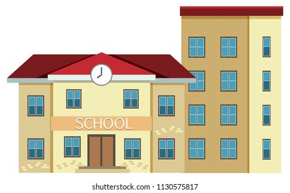 A school building on white background illustration