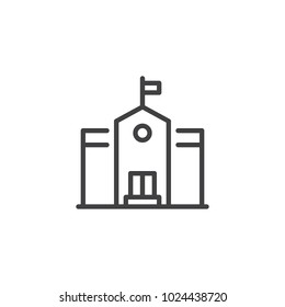 School building outline icon. linear style sign for mobile concept and web design. Education simple line vector icon. Symbol, logo illustration. Pixel perfect vector graphics