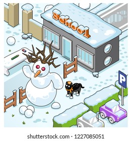 School building, parking lot and courtyard covered in snow, cheerful snowman and black cat looking at viewer (vector illustration)