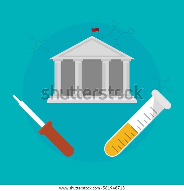 school building with science testt tube