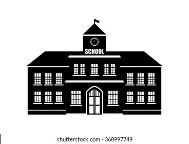 School Building silhouette on a white background