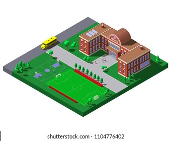 School building with soccer, tennis field and school bus. Vector isometric illustration
