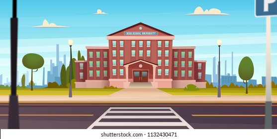 School building  with  the street. University modern concept illustration