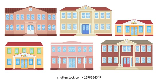 School building, university, kindergarten and college. Vector. Schoolhouse front view. Facade of education building. Set architecture icons isolated on white background. Cartoon flat illustration.