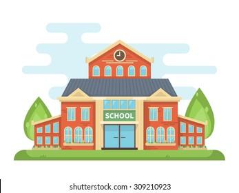 School building or university with landscape. Back to school. Vector flat design illustration