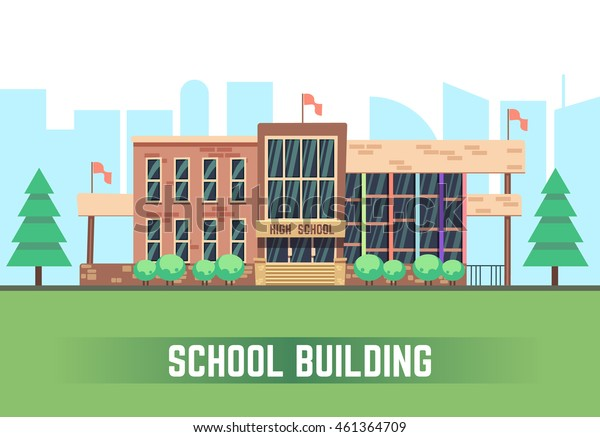 School building. Vector flat education concept. College construction urban illustration