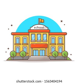 School Building Vector Icon Illustration. Building And Landmark Icon Concept White Isolated. Flat Cartoon Style Suitable for Web Landing Page, Banner, Sticker, Background