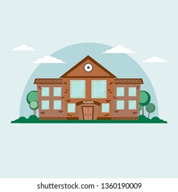 School building. Vector Illustration cartoon and flat style.