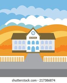 School building (vector illustration, flat concept)